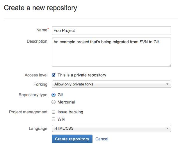 Git移行: Bitbucketリポジトリの作成