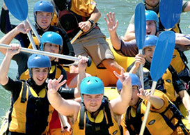 Gradlassians white-water raft together